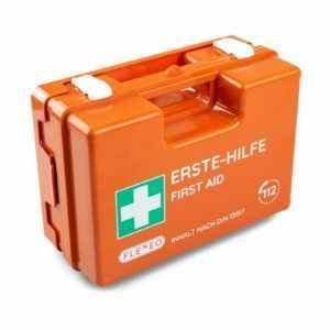 FLEXEO Erste-Hilfe-Koffer DIN 13157, orange, mit Wandhalterung - Verbandkasten