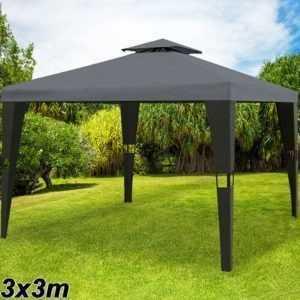 DEUBA® Pavillon 3x3m Partyzelt Gartenmöbel Garten Pavillion Metall Polyrattan