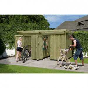 Geräteschuppen Typ 4 Gerätehaus Holz 408x254 cm Fahrradgarage Fahrradunterstand