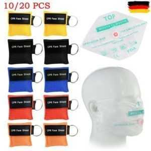 10/20 CPR Face Shield Beatmungsmaske Beatmungstuch Beatmungs Erste Notfall Hilfe