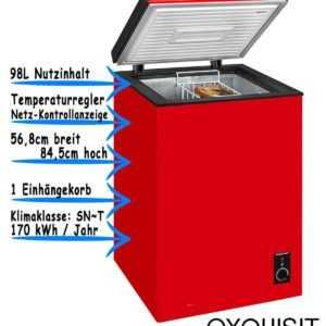 Exquisit Gefriertruhe Rot Tiefkühltruhe Eisschrank Freistehend 98L...