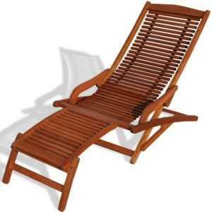 KMH® Eukalyptus Relaxliege Deckchair Sonnenliege Gartenliege Liegestuhl Holz rot