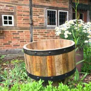 Kübel Pflanzen Holz Fässer halbes Holzfass - Holzfässer Blumenkübel