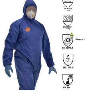 Schutzanzug Chemikalien Partikel Asbest PSA Kat 3 Typ 5 Maler Overall Schutz