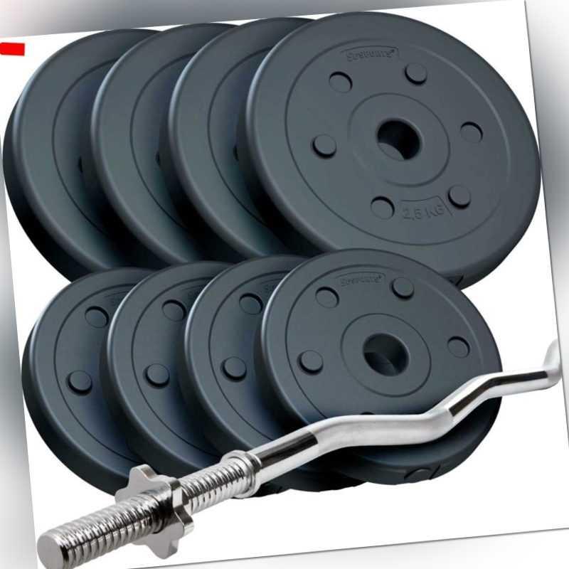 Hantelset 22 kg Langhantel Curlstange SZ-Stange 30 mm Gewichte Hantelscheiben