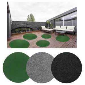 Kunstrasen Rund Grün Grau Outdoor Teppich Rasenteppich Noppen Balkon Terrasse