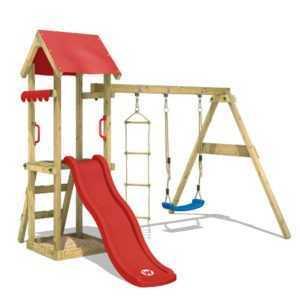 WICKEY Spielturm Kletterturm TinyCabin Garten Holz Schaukel rote Rutsche