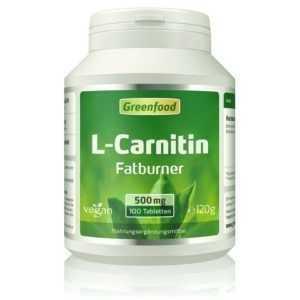 Greenfood L-Carnitin, 500 mg, hochdosiert, 100 Tabletten - vegan