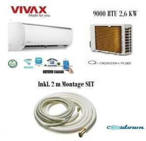 VIVAX Split Klimaanlage Q Design 2,6 KW 9000 BTU Klimagerät Inkl.2 m Montageset ; EEK A