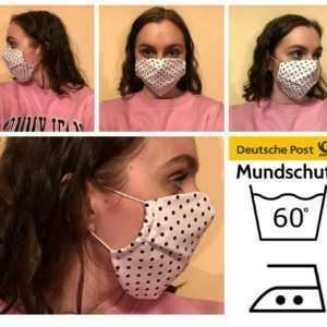 Maske Weiß mit Punkten Atemschutzmaske Mundschutz Wiederverwendbar Waschbar