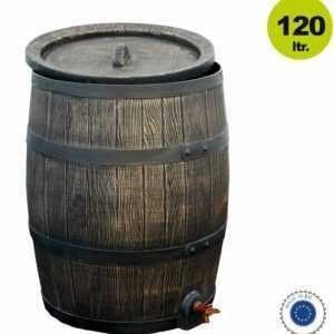 Regentonne Holzfass / Regenfass, 120 Liter, abnehmbarer Deckel, mit Auslaufhahn,