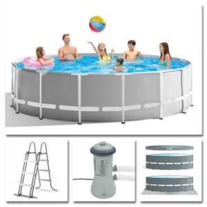 INTEX Komplettset Prism Frame Pool Ø 457x107cm + Filterpumpe Swimmingpool 26724