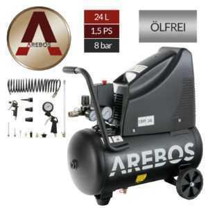 Arebos 8bar Druckluft Kompressor ölfrei 24L 1100W inkl. 14-Teile Druckluft-Set