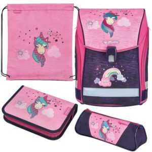 Herlitz Schulranzen Midi Plus Unicorn 4er-Set Schultasche Mädchen Einhorn rosa