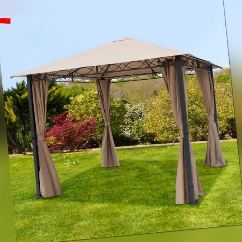 Gartenpavillon 3x3m Pavillion 4 Seitenteile Gartenzelt Pavillon Metall Partyzelt