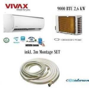 VIVAX Split Klimaanlage Q Design 2,6 KW 9000 BTU Klimagerät Inkl.3 m Montageset ; EEK A++