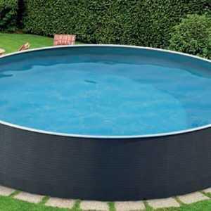 Schwimmbecken Pool Rattanoptik 3,60 m x 1,10 m Stahlwandpool Stahlwandbecken
