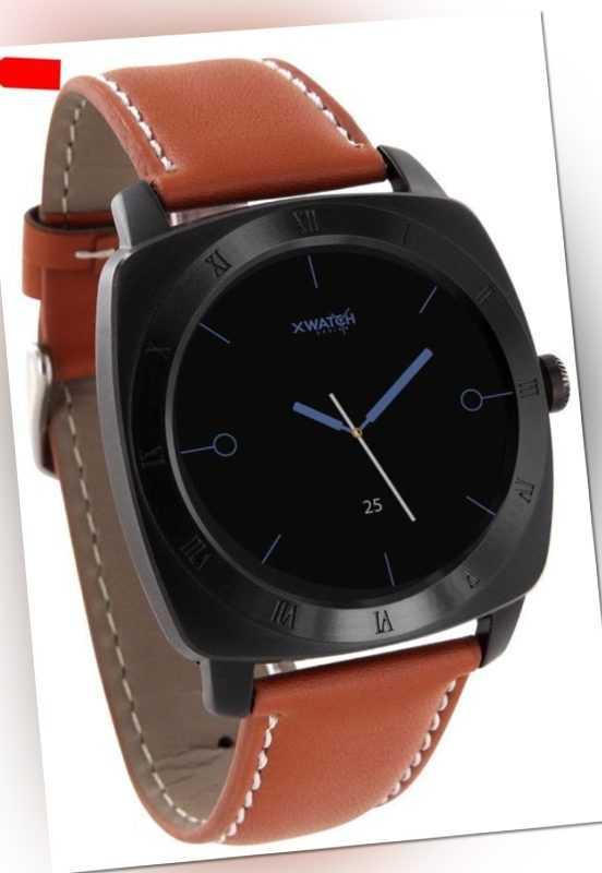 Xlyne Pro Smartwatch X-Watch Nara XW Black Chrome Android IOS cognac light brown