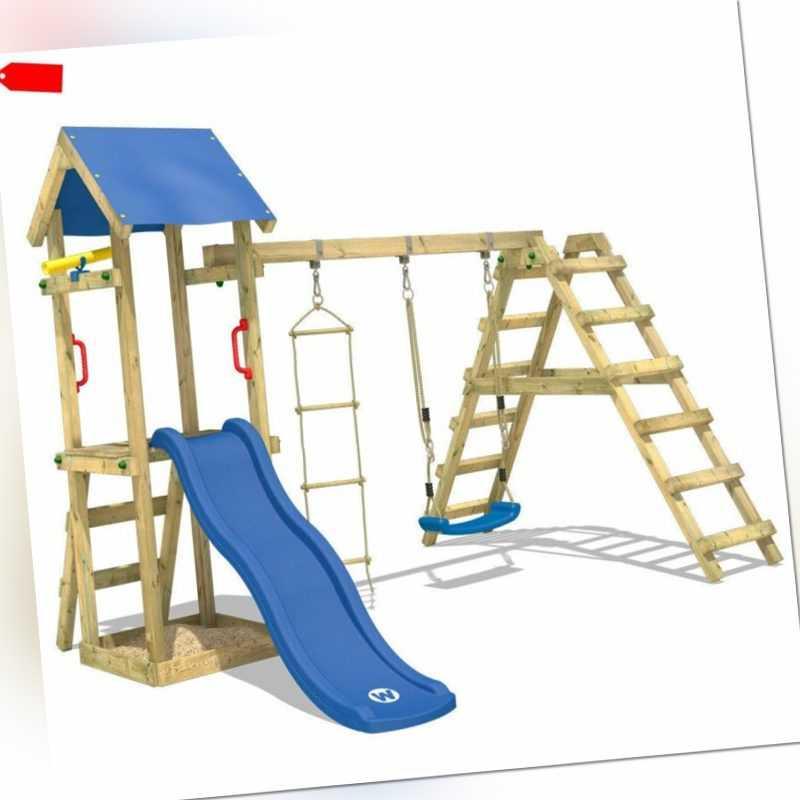 WICKEY Spielturm Kletterturm TinyLoft Garten Holz Schaukel blaue Rutsche