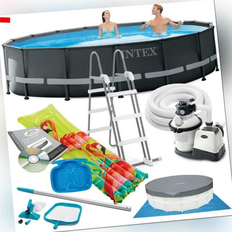 INTEX Ultra Frame Swimming Pool Ø 488x122cm Schwimmbecken Stahlrahmen 26326