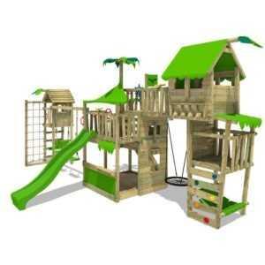 FATMOOSE Spielturm Baumhaus TropicTemple Tall XXL Turmanbau Rutsche Holz Garten