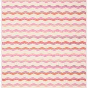Biederlack Wohndecke Colour-Cotton Zickzack Korallrosa 150 x 200