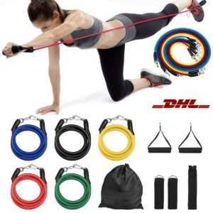 11tlg/Set Resistance Fitnessbänder Expander Gymnastikbänd Yoga Sport Latexband