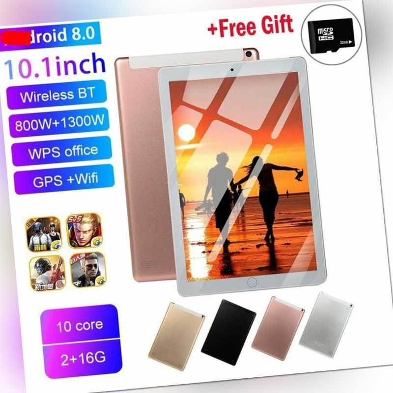 10,1 Zoll Tablette 2+16GB Android 8.0+10 Core Dual-SIM Bluetooth WIFI Tablet PC