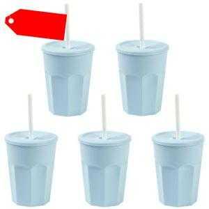 5x Kunststoffbecher mit Deckel Blau Trinkbecher Plastikbecher Trink-Gläser 0,25l