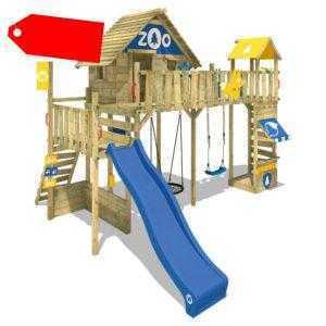 WICKEY Spielturm Klettergerüst Smart Ranger mit Doppelschaukel & blauer Rutsche