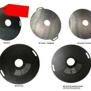 Feuerplatte 80 & 100cm Grillplatte Grillring Plancha personalisierbar BBQ Grill