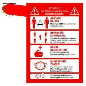 10 Stk. Corona Regeln Abstand Schild Markierung Einzelhandel Supermarkt Viren A4