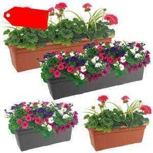 Blumenkasten 60 cm 80 cm Halterung Untersetzer Kunststoff Braun Grau