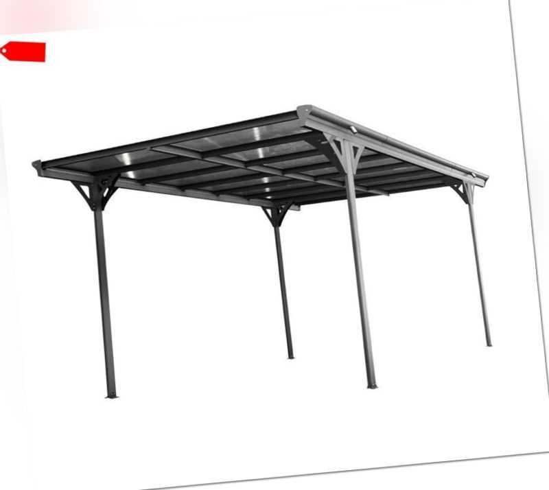 Carport Aluminium Helsinki 5x3m anthrazit Flachdach Einzelcarport Westmann