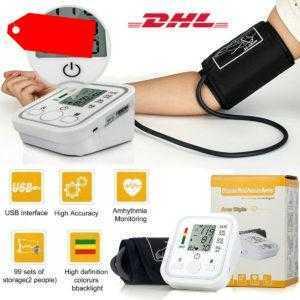 Digital Blutdruckmessgerät Oberarm LCD Blutdruck Monitor Automatische Pulsmesser