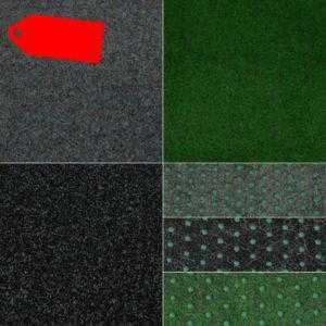 Kunstrasenteppich Fertigrasen mit Noppen:Grün Grau Schwarz, Qualität aus Belgien