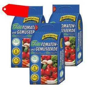 3x BIO Tomaten- & Gemüseerde 45 Liter Bodengold Premium Tomatenerde 3 Sack á 15L