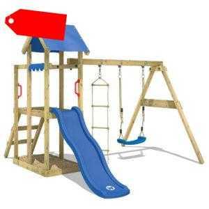 WICKEY Spielturm Kletterturm TinyPlace Blaue Rutsche Schaukel Kinder Holz Garten