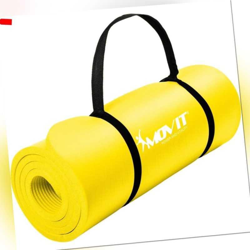 MOVIT 190x60x1,5cm Yogamatte Gymnastikmatte Yoga Matte Fitnessmatte Gelb