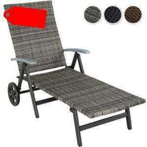 Aluminium Rollliege mit Armlehnen Poly Rattan Sonnenliege Gartenliege Relaxliege