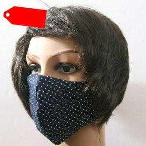 Neu mehrweg Gesichtsmaske Mund- und Nasenbedeckung Blau Weiß Punkte Baumwolle