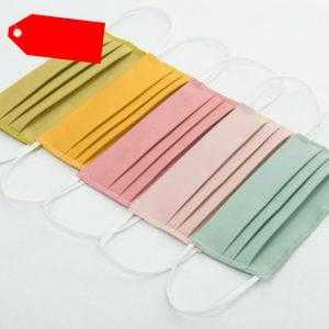 5 Stück Maske Mundschutz Gesichtsmaske Waschbar Baumwolle Color MIX