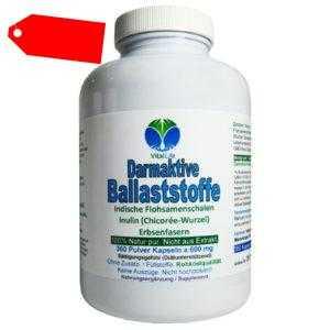 Darmaktive Ballaststoffe Flohsamen Inulin + Erbsenfasern 360 Kapseln. 26715-360