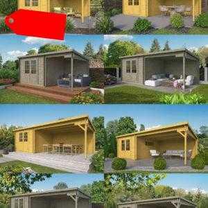 28/40 mm Gartenhaus + Anbau BRAUN o. GRAU Gerätehaus Holzhaus Holz Schleppdach