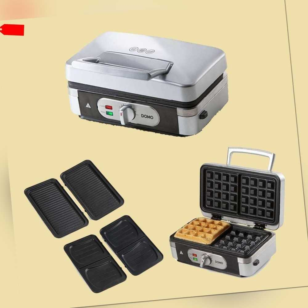 Domo 3in1 Waffeleisen/Sandwichtoaster/Grill - DO 9136 C -...