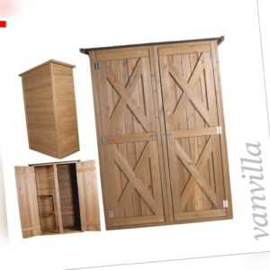 vanvilla Gartenschrank Flachdach Gross Geräteschuppen Geräteschrank Holz Dunkel