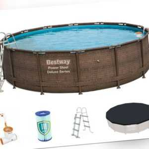 Frame Pool Set BESTWAY Power Steel Swimmingpool Stahlrahmen Quick Up Komplettset