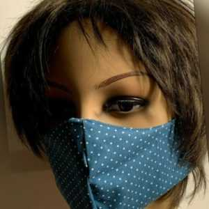 Neu mehrweg Gesichtsmaske Mund- und Nasenbedeckung Hellblau Punkte Baumwolle