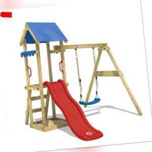 WICKEY Spielturm Klettergerüst TinyWave Rote Rutsche Schaukel Kinder Garten Holz