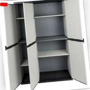 XXL Haushaltsschrank Gartenschrank Schrank Kunststoffschrank 3 Türen Grau Böden
